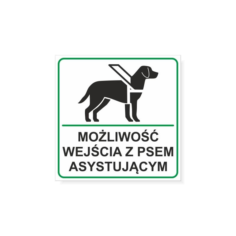 Logotyp przedstawiający psa w uprzęży. Możliwość wejścia z psem asystującym.